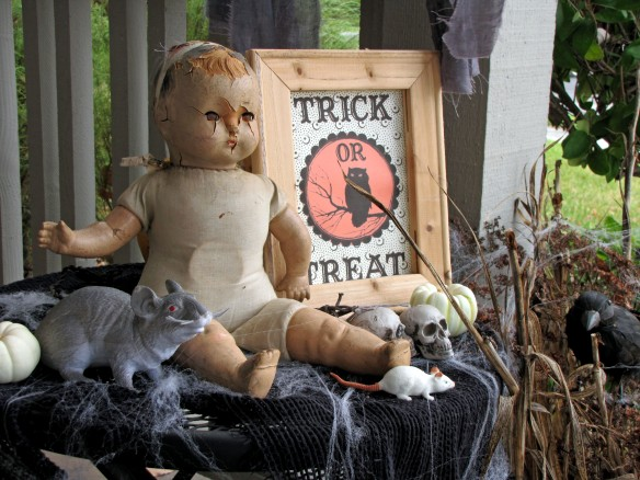 antique doll Halloween decor