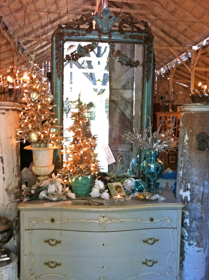 teal French dresser