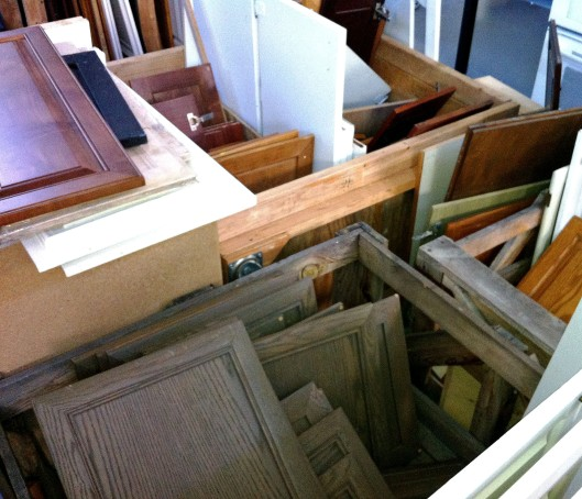 salvaged cabinet doors