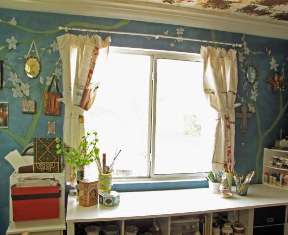 patchwork hanky curtains