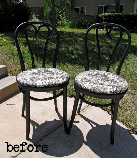 black toile chairs