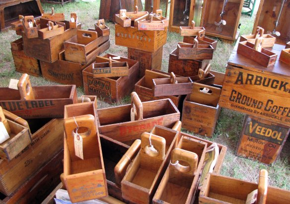 vintage crates and boxes
