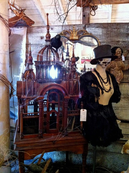 wood carved birdcage