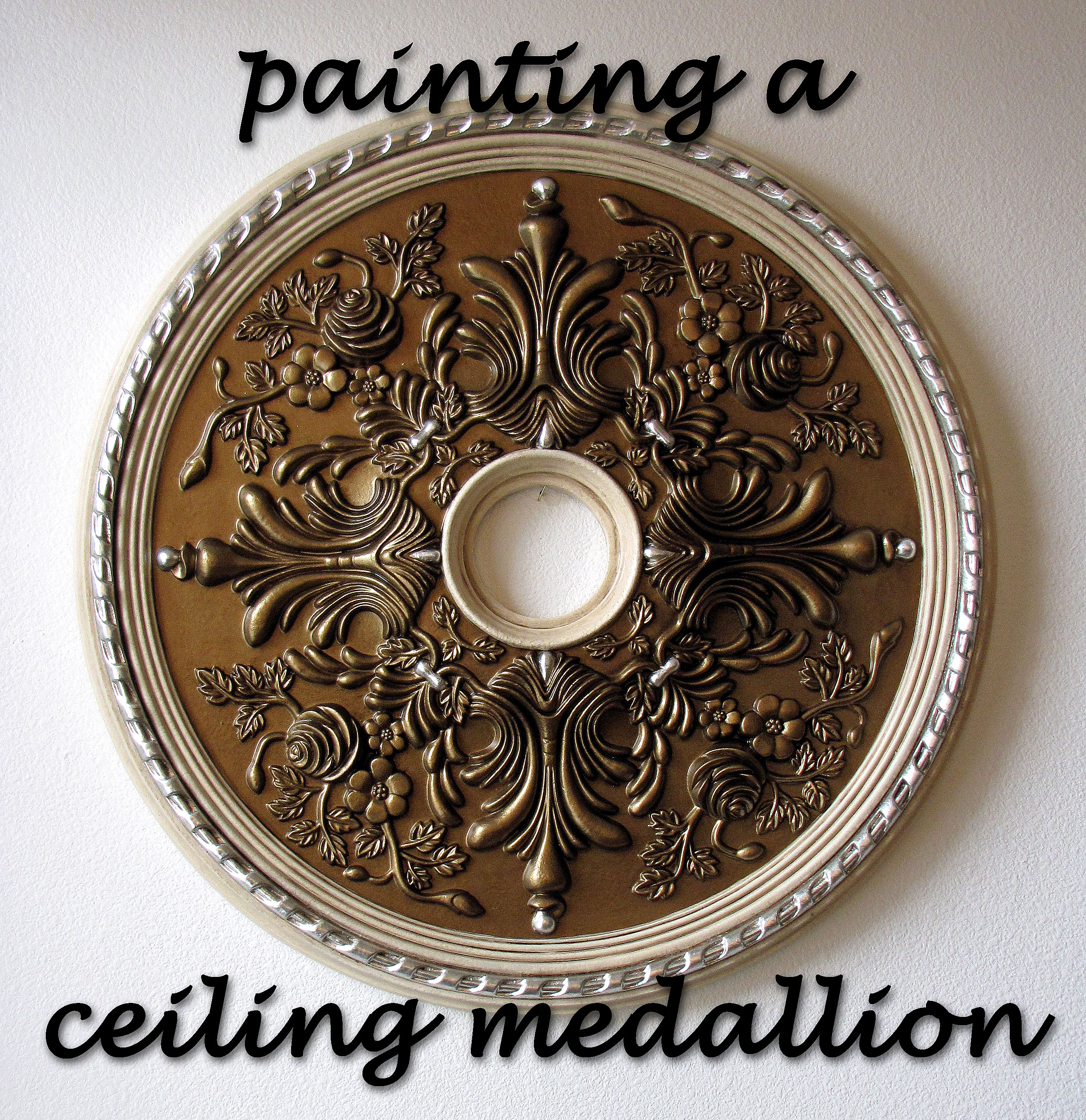 to ceiling how painted paint brass painting finished a destashio medallion
